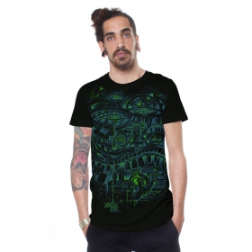"Camiseta ""City Steps\"", Negro"