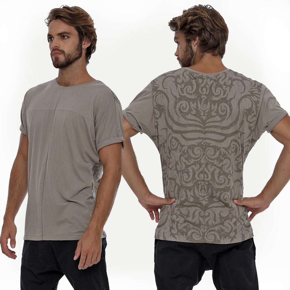 "Camiseta \""Dayak\"", Gris y beige"