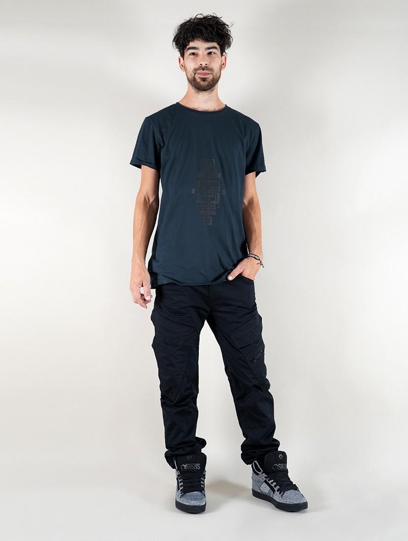 "Camiseta \""Geometric Tierra\"", Azul petróleo"