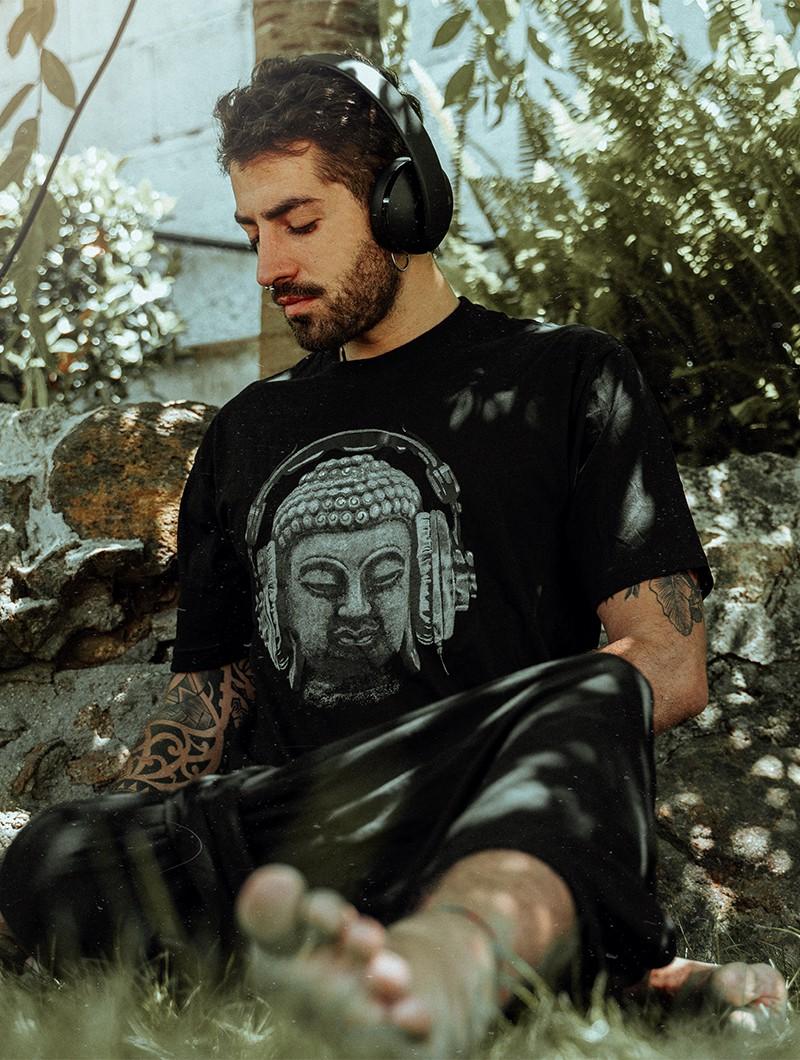"""Camiseta \""""Headphone bouddha\"""", Negro"""