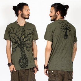"Camiseta ""Leafless Tree\"", Verde caqui"