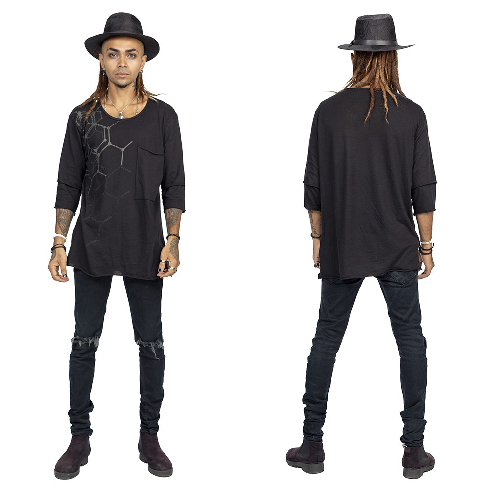 "Camiseta \""Oracle\"", Negro y gris"