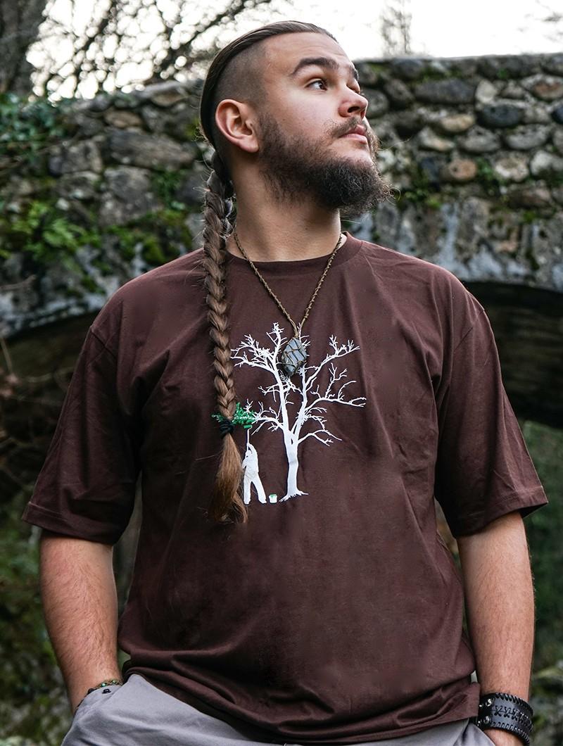 """Camiseta \""""Painting tree\"""", Marrón"""