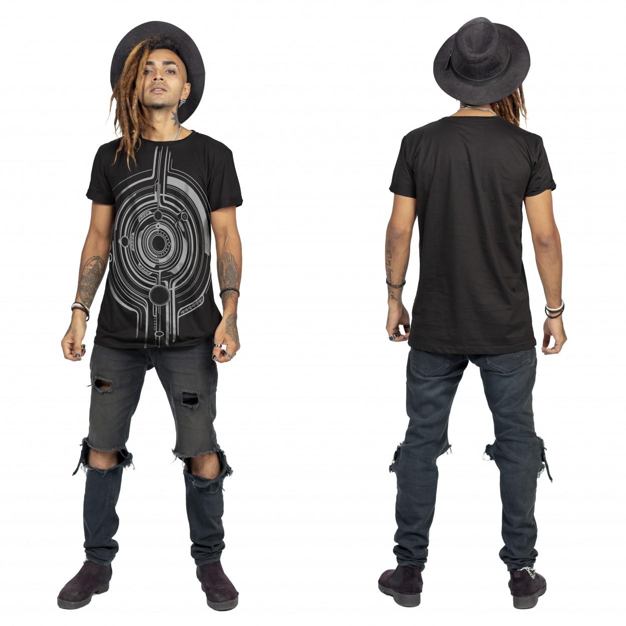 "Camiseta \""Tierra Globule\"", Negro y plateado"