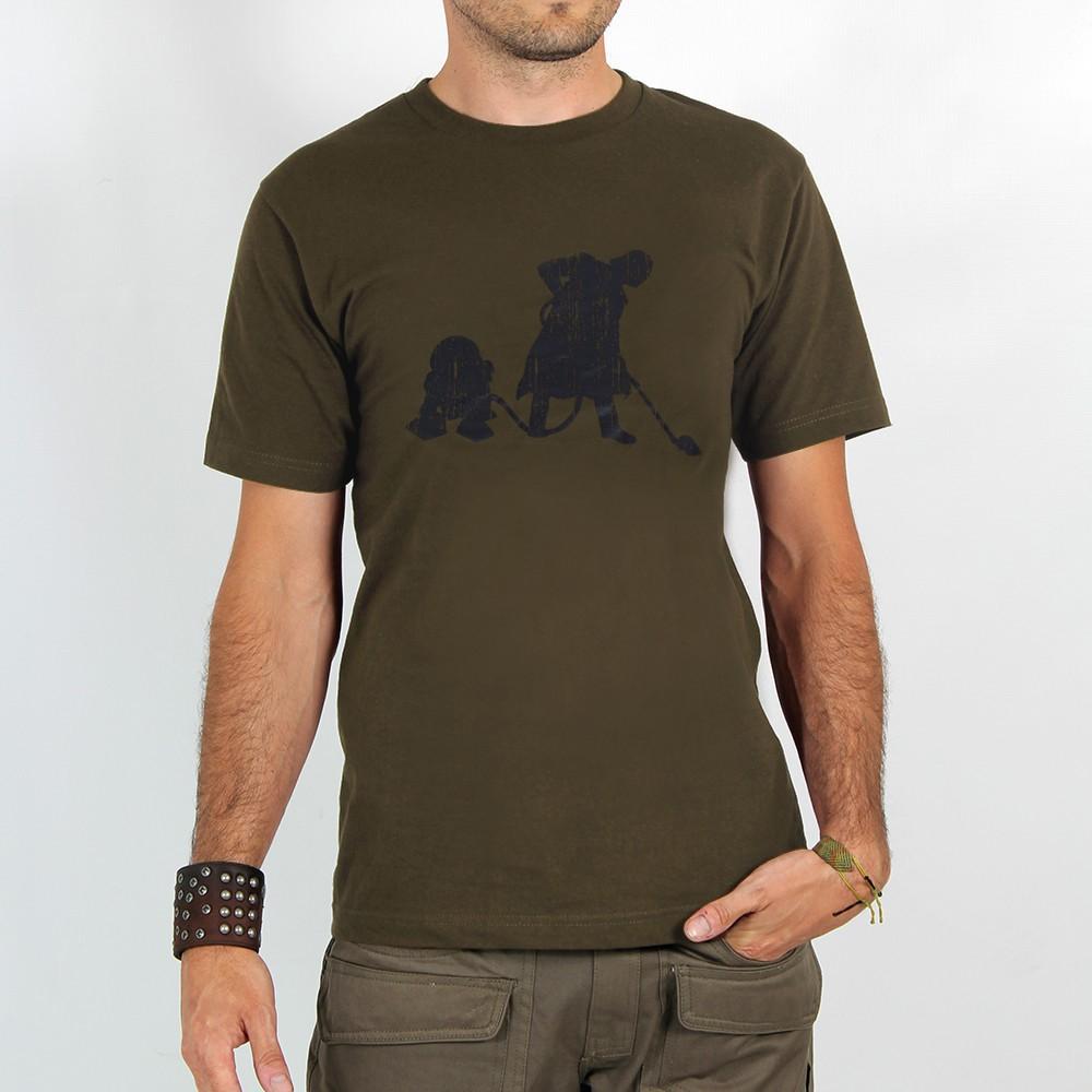 """Camiseta \""""Vader Aspirador R2D2\"""", Verde caqui claro"""