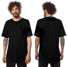 "Camiseta con botones \""Uneven\"", Negro"