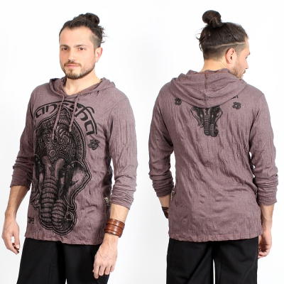 "Camiseta con capucha \""Ganesh Face\"", Marrón"