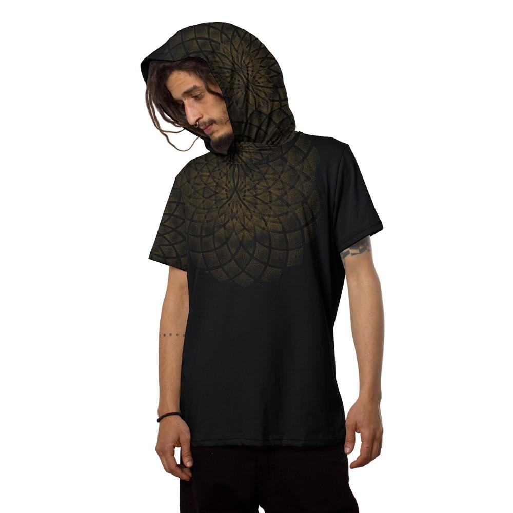 """Camiseta con capucha \""""Lotus\"""", Negro"""