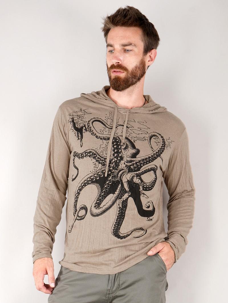 "Camiseta con capucha \""Octopus\"", Marrón claro"