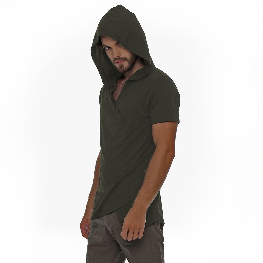 """Camiseta con capucha \""""Vipa\"""", Verde caqui"""