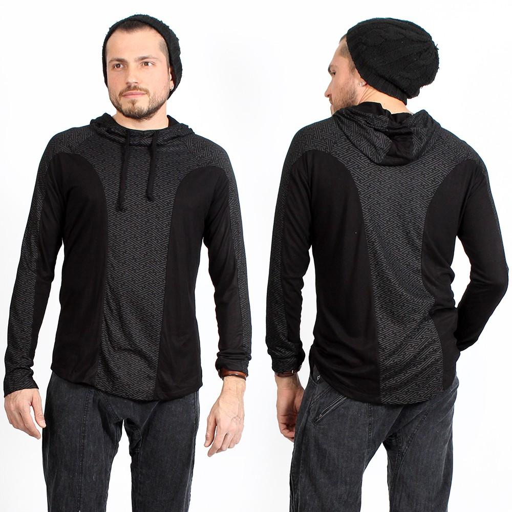 "Camiseta con capucha de mangas largas \""Apollo Swastika\"", Negro"