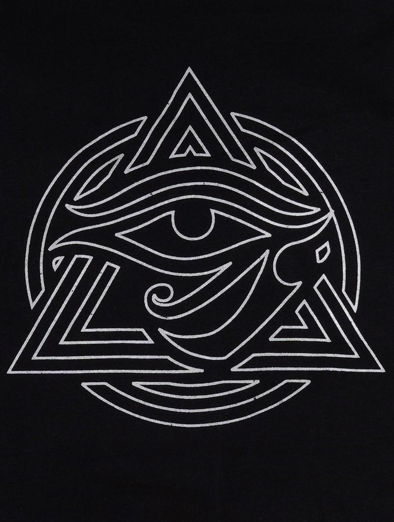"""Camiseta de manga corta \""""Tierra Wisdom\"""", Negro con estampado gris metálico"""