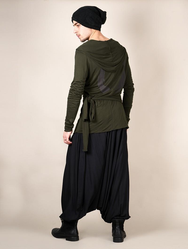 """Camiseta de manga larga con capucha \""""Samuraï\"""", Verde caqui"""