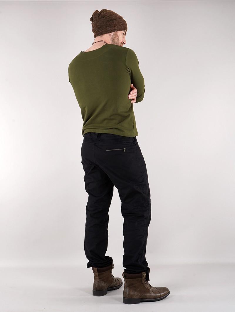 "Camiseta de manga larga con cuello mao \""Legolas\"", Verde oliva"