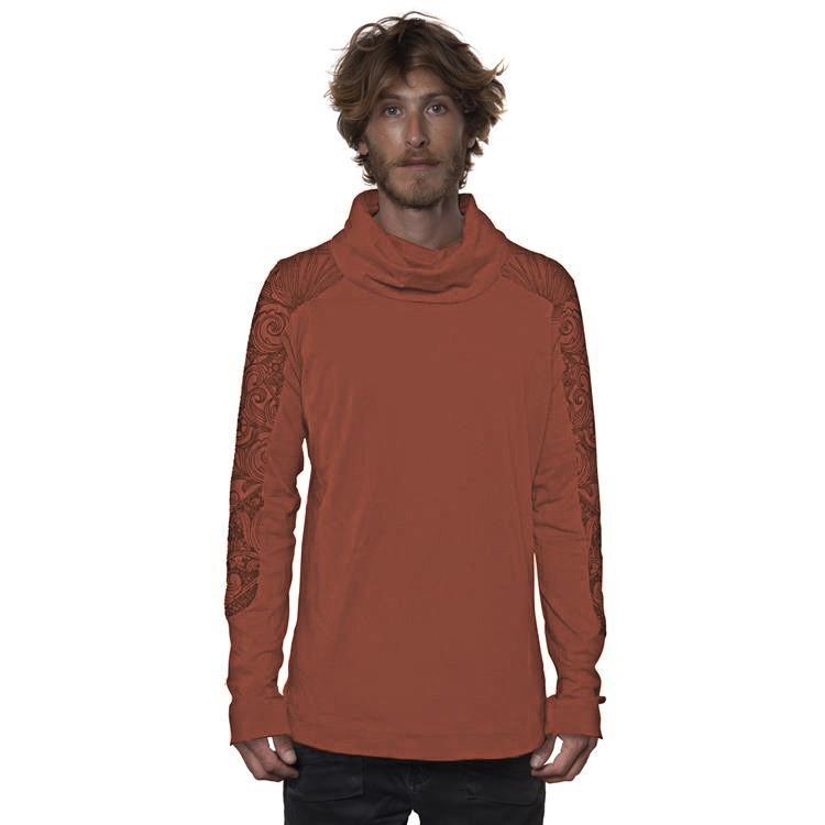 """Camiseta de mangas largas \""""Floral Mach\"""", Teja"""