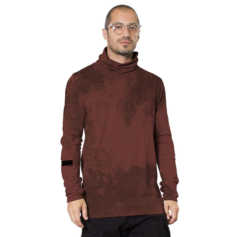 """Camiseta de mangas largas \""""One city\"""", Burdeos descolorido Tie-dye"""