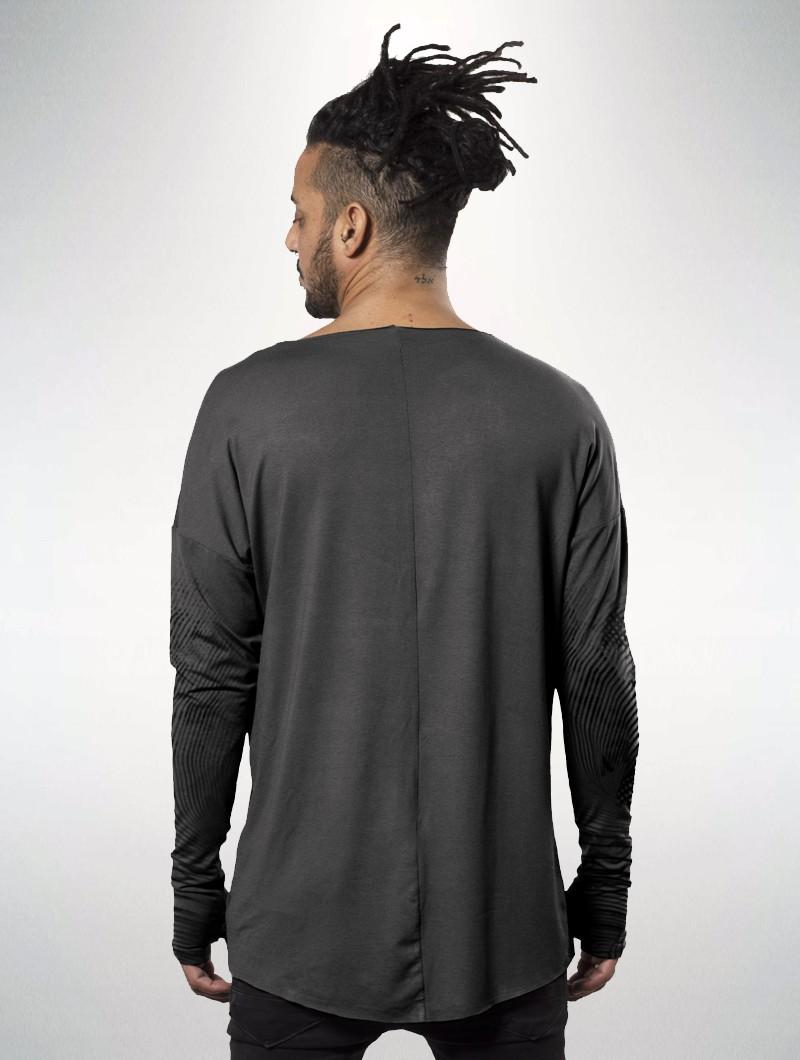 """Camiseta de mangas largas unisex \""""Okinami\"""", Gris lavado"""