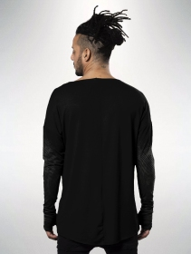 "Camiseta de mangas largas unisex \""Okinami\"", Negro"