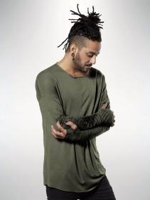 """Camiseta de mangas largas unisex \""""Okinami\"""", Verde oliva lavado"""