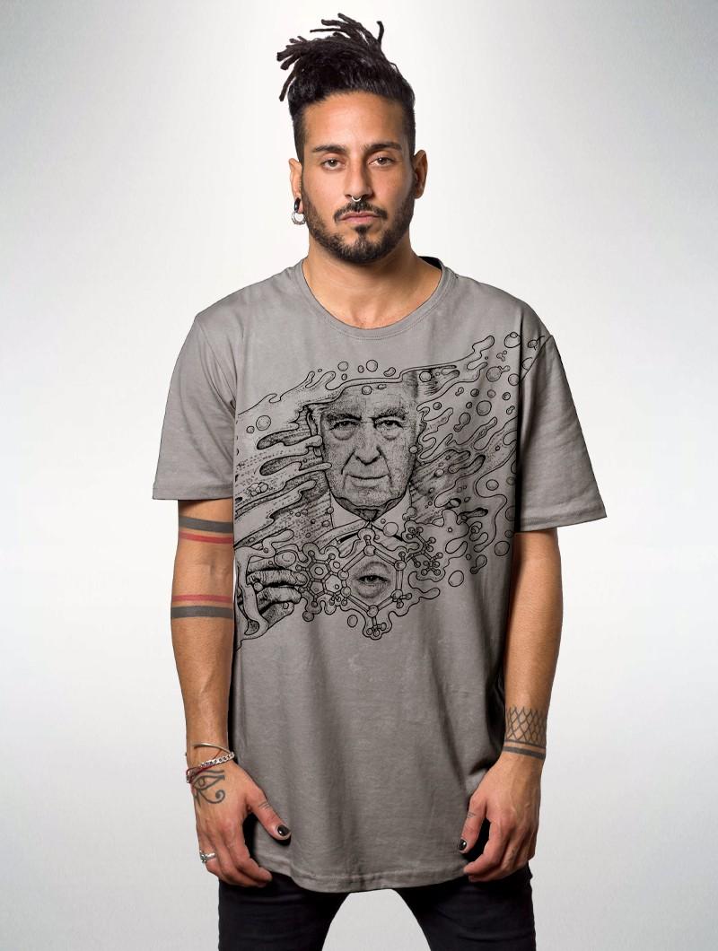 "Camiseta estampada \""Delic\"", Gris tie dye"