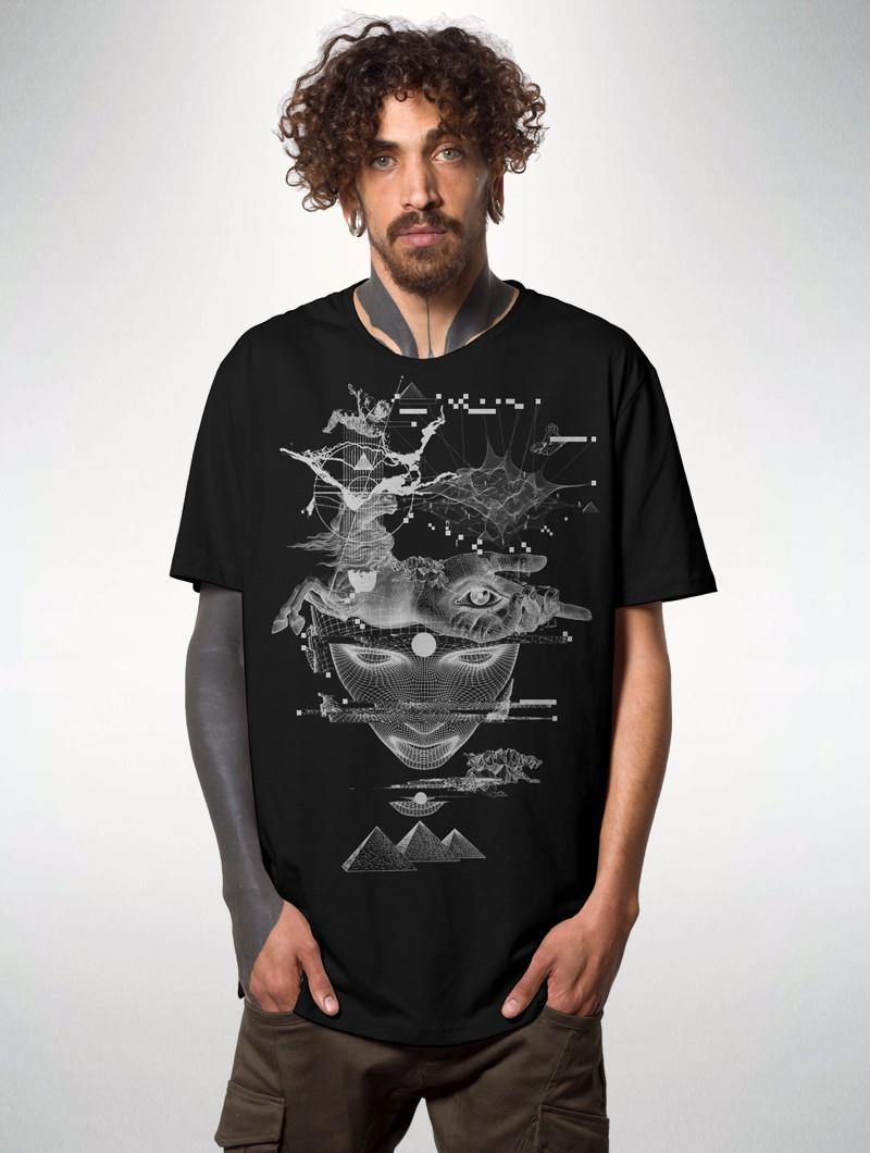 "Camiseta estampada \""Giza\"", Negro"