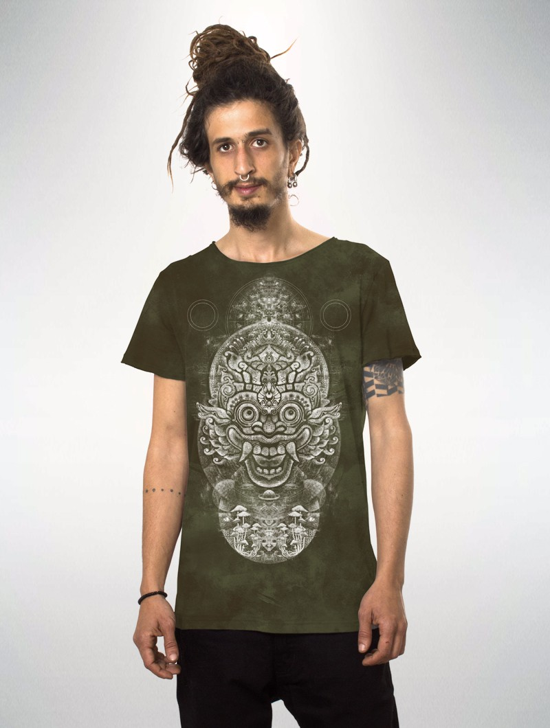 "Camiseta estampada de manga corta \""Edicaro\"", Verde oliva descolorido tie dye"