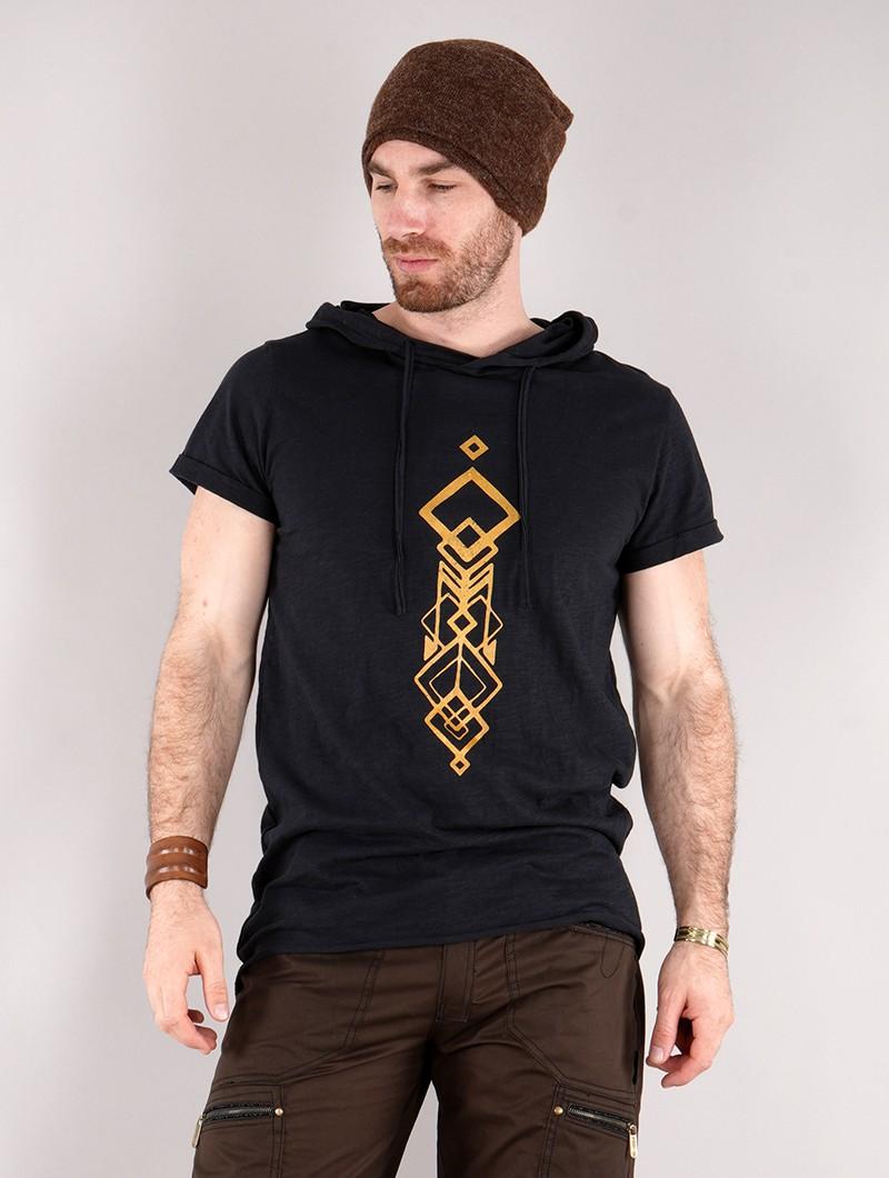 """Camiseta larga con capucha unisex \""""Singha\"""", Negro"""