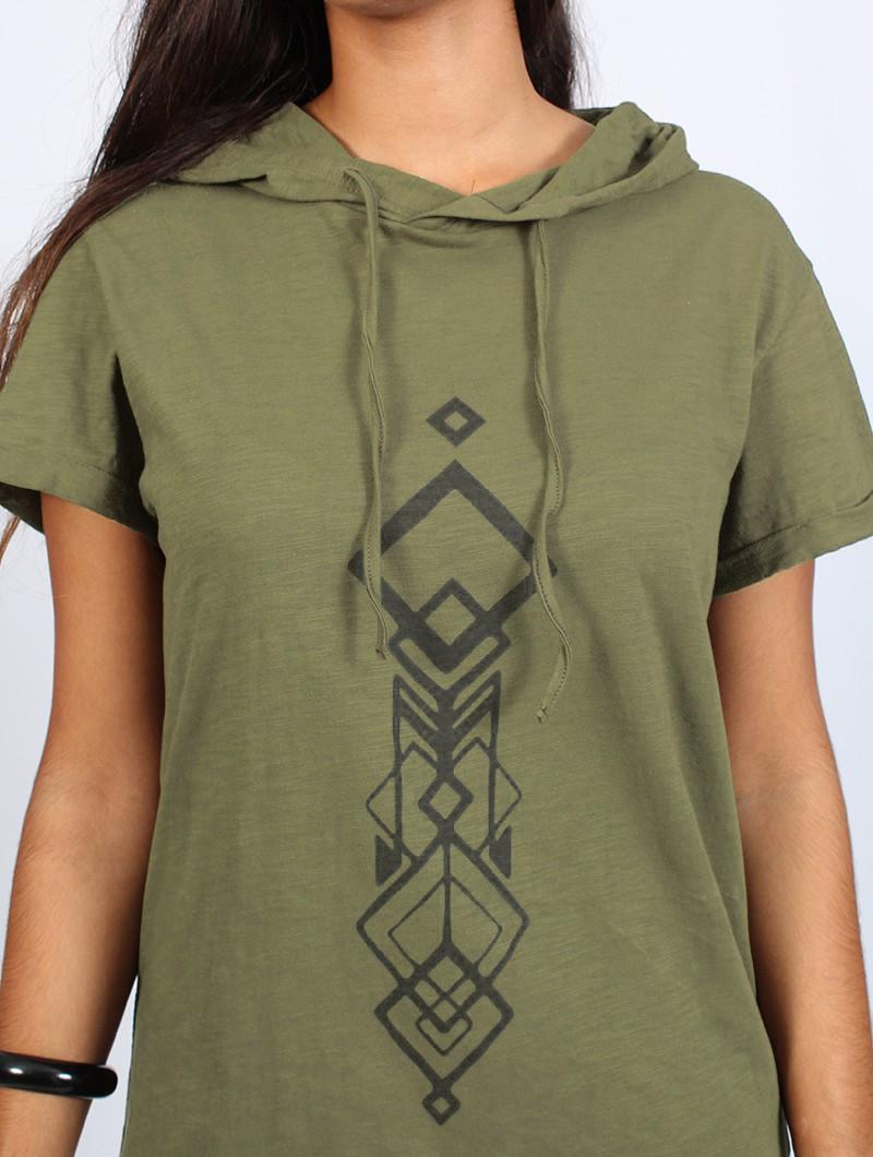 """Camiseta larga con capucha unisex \""""Singha\"""", Verde oliva y negro"""