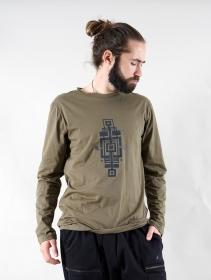 """Camiseta manga larga \""""Aztec Bumi\"""", Verde caqui"""