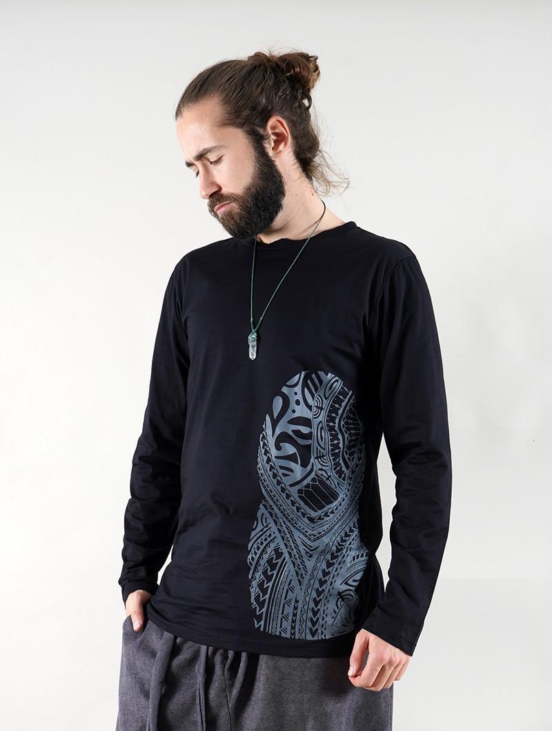 """Camiseta manga larga \""""Dogon Bumi Maori\"""", Negro"""