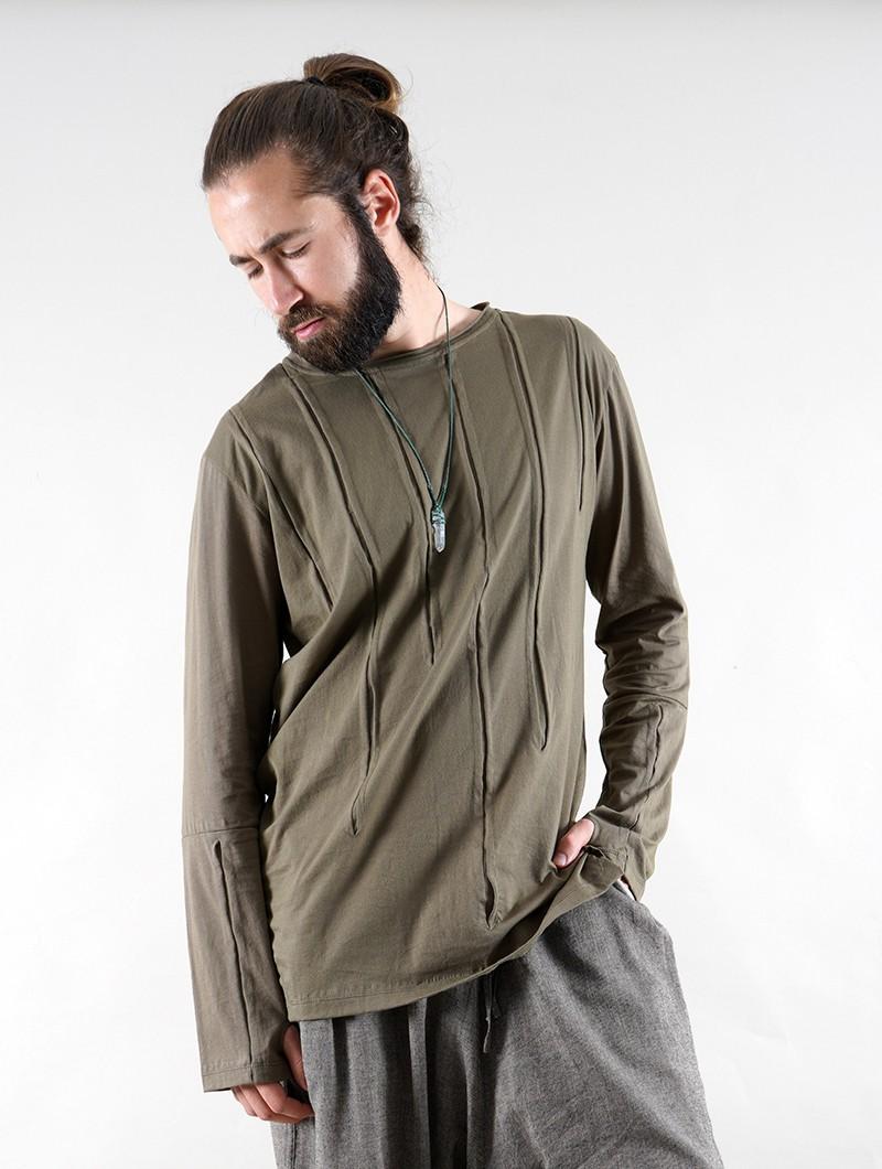 """Camiseta manga larga \""""Ra\"""", Verde caqui"""