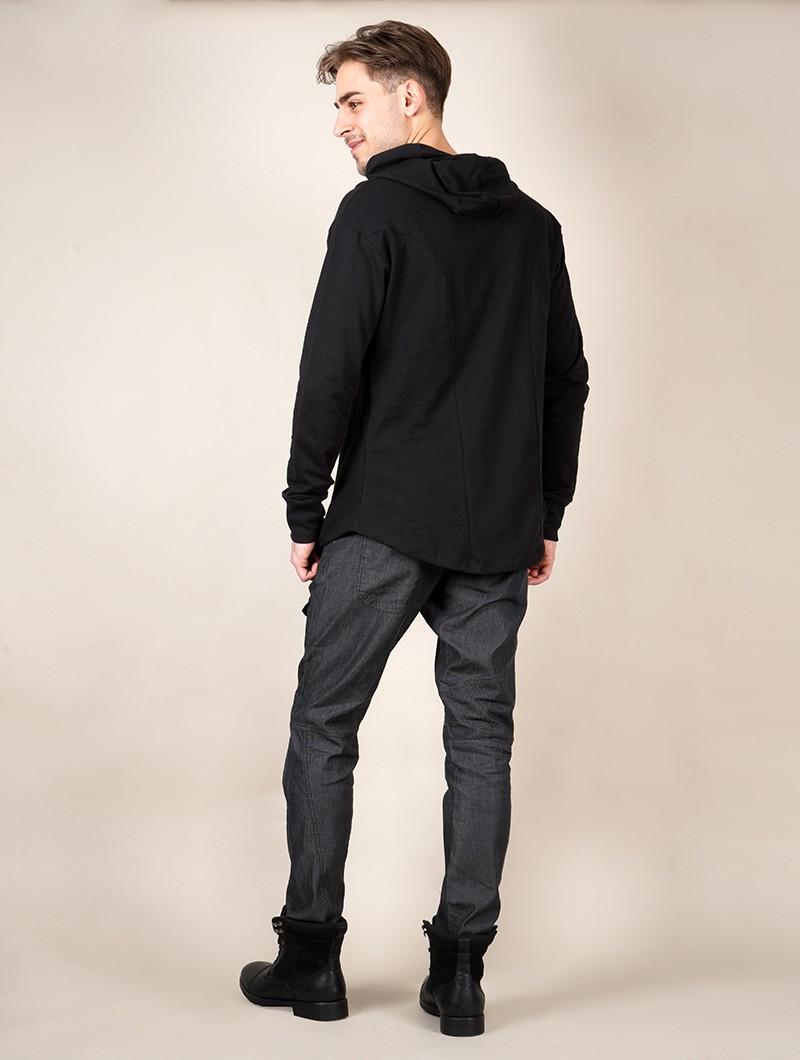 """Camiseta manga larga con capucha \""""Aldaron\"""", Negro"""