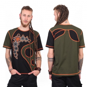 "Camiseta Shaman ""All In One Bubble\"", Negro y caqui"