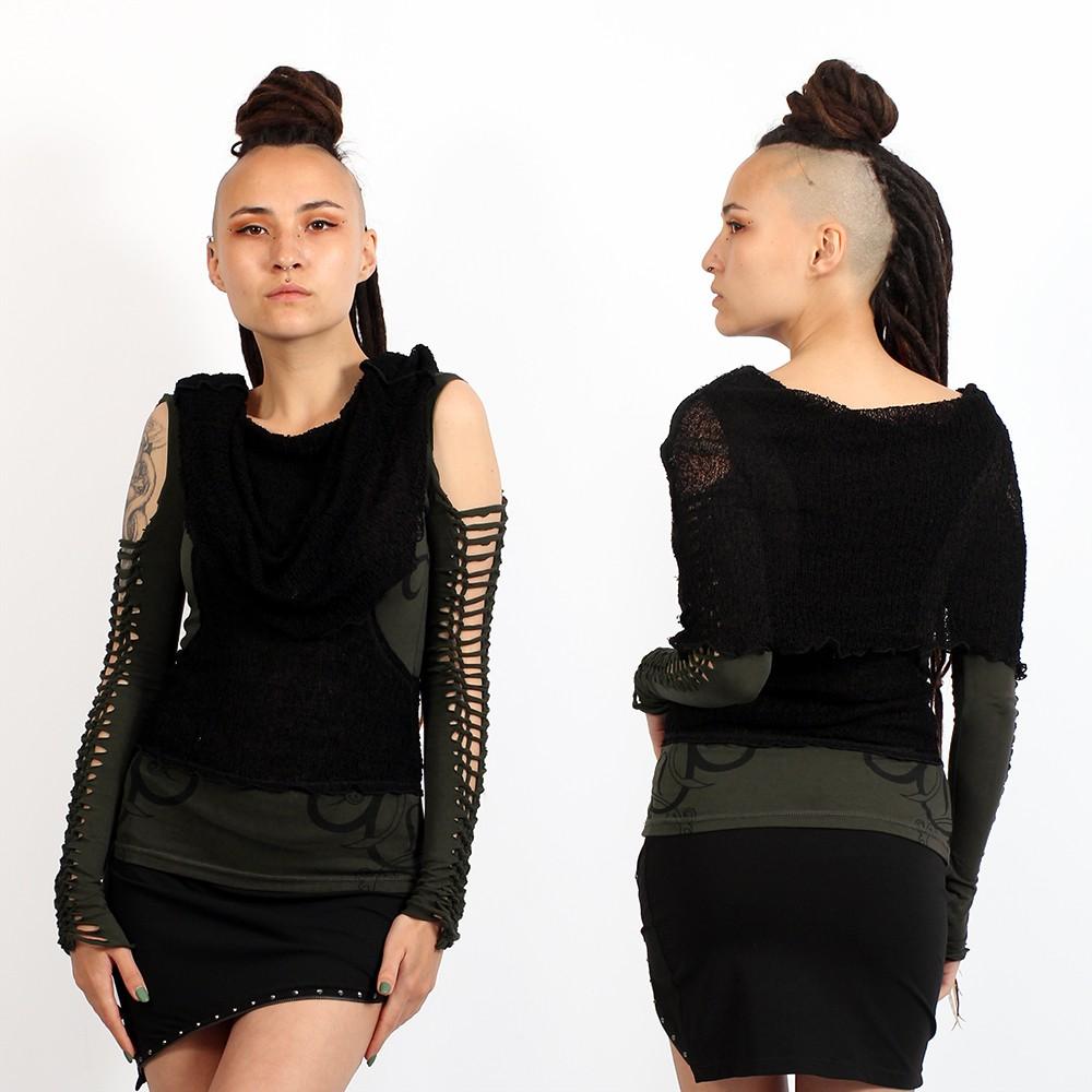 "Camiseta sin mangas \""Long Neck\"", Caqui oscuro y negra"
