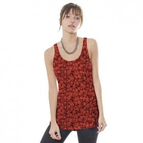 "Camiseta sin mangas \""Skullcaf\"", Rojo anaranjado"