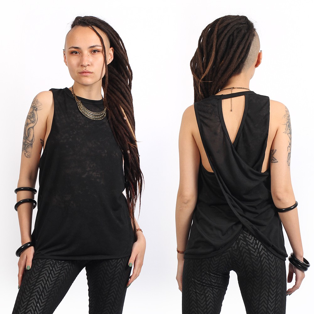 "Camiseta sin mangas \""V-173\"", Negro moteado"
