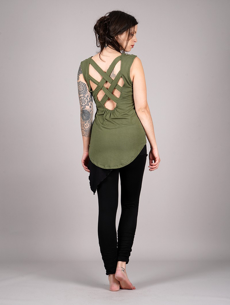 "Camiseta sin mangas \""Vishakha\"", Verde caqui"