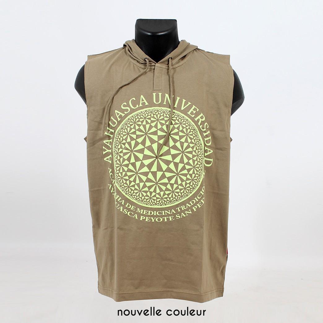 """Camiseta sin mangas con capucha \""""Ayahuasca\"""", Verde caqui"""