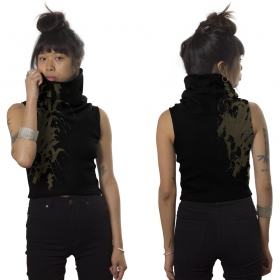 "Camiseta sin mangas con largo cuello \""Delfa\"", Negro"