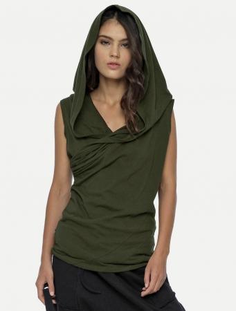 """Camiseta unisex con capucha \""""Kuan\"""", Verde oliva"""