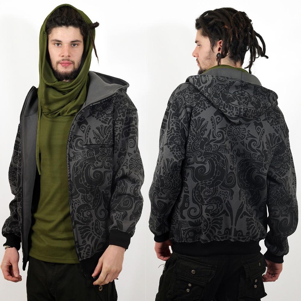 """Chaqueta con capucha circular \""""Nibiru Aztek\"""" GadoGado, gris"""