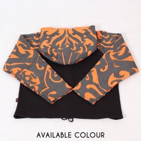 "Chaqueta con capucha circular GadoGado \""Ariinuii\"", naranja y negra"