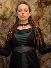 """Cintura \""""Kazöo\"""", Cuero sintético negro y perlas doradas"""