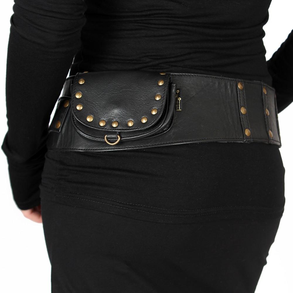 """Cintura con bolsillo \""""Ishtar\"""", Cuero negro"""