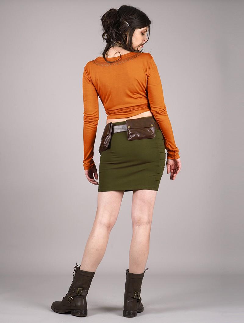 "Cinturón con bolsillo \""Sirthaal\"", Cuero sintético marrón"