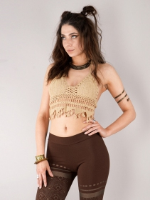 "Crop top de ganchillo ""Aema\"", Blanco roto"