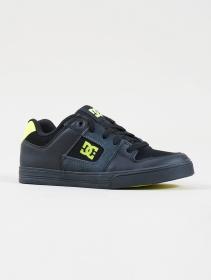 DC Shoes Pure, Cuero negro y verde limón