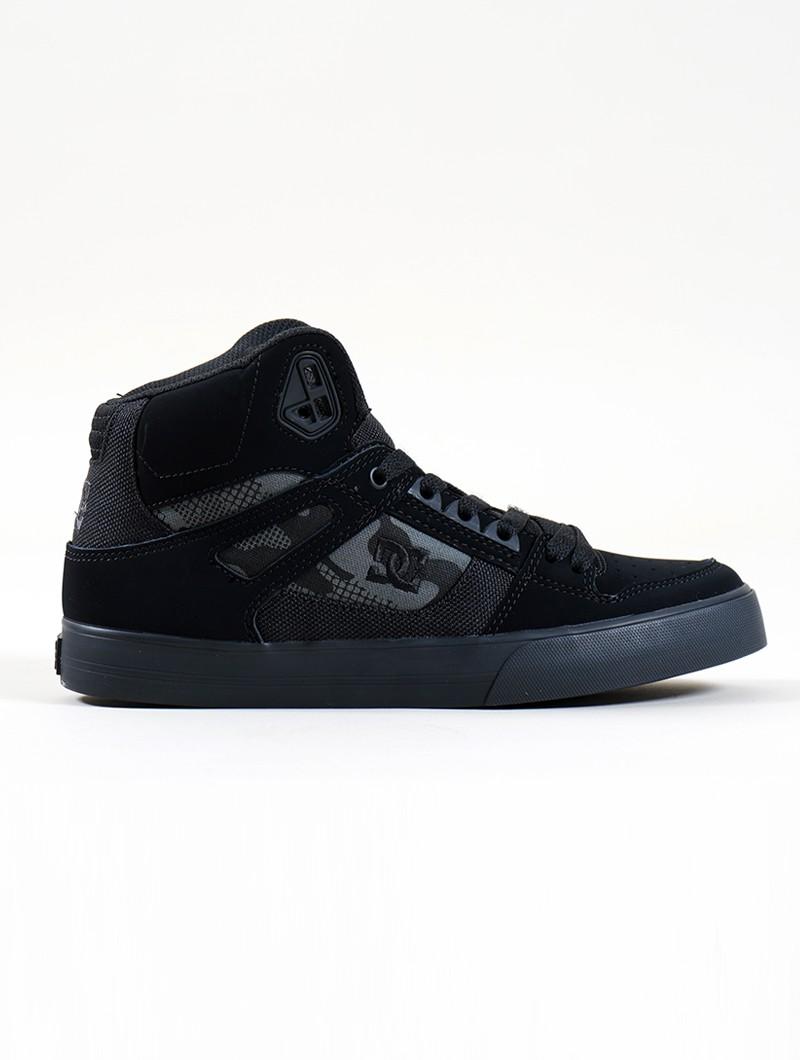 DC Shoes Pure High-Top WC, Cuero negro y camo