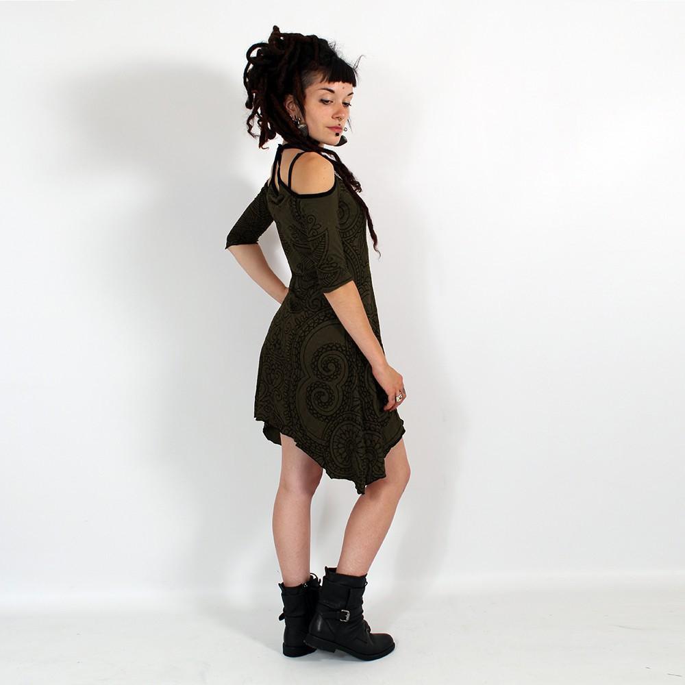 "\""Diana Paisley\"" dress, Khaki"