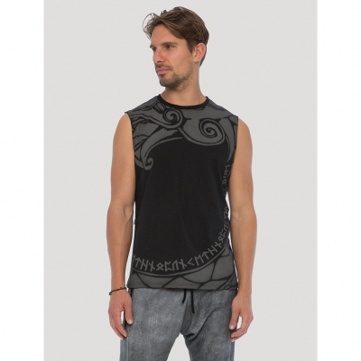 """Dragon\"" sleeveless T-shirt, Black"